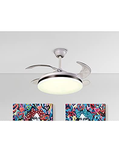 Ventilador de Techo LED CCT 2x36W VENTO Schuller Blanco Mate y Bronce 4 Aspas Ø50-100cm