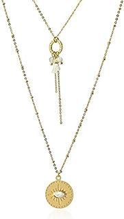 Anartxy Collar Doble Capa con Detalle Circular en Piedra Natural Forma Ojo para Mujer de Acero, Mejor Regalo