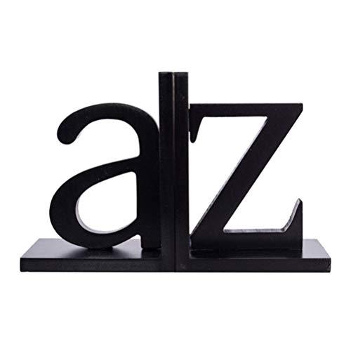 YVX Buchstützen Buchstützen Englische Buchstaben Form rutschfeste Buchstützen für Klassenzimmer Home Office Schwarz