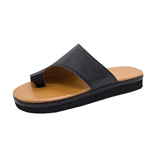 Rails Sandalias cómodas para Mujer Zapatos con Plataforma correctora de juanetes Flip-Flop Zapatos Ligeros para Mujer Sandalias de cuña (Color : Negro, Size : 4)