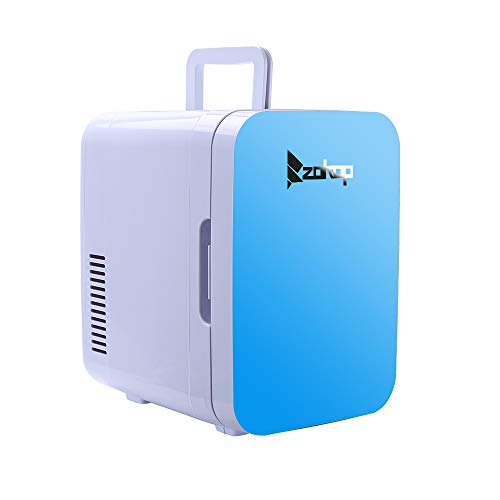 Mini Fridge Cooler and Warmer, (6 Liter/ 8 Can) Portable Compact Personal Fridge With AC/DC Power for BedRoom, Office, Car, Portable Travel Camping MakeUp SkinCare (BLUE)