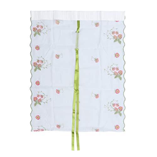 VOSAREA Binden Sie Vorhang Tüll Erdbeer Stickerei Vorhang Drapieren Schabracken für Wohnzimmer Schlafzimmer Balkon 1 stück