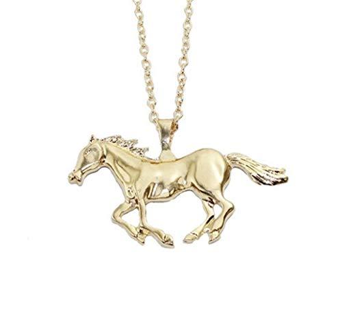 chenyou Collar con colgante para mujer, color plateado y dorado, collar con colgante de caballo (Color del metal: oro)