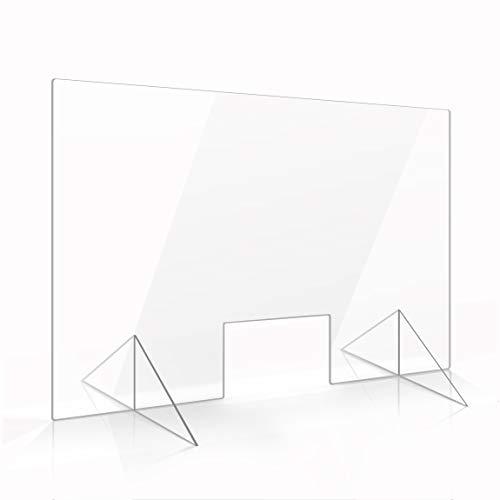 Apalis Spuckschutz Plexiglas Aufsteller 60cm x 90cm x 3mm mit Durchreiche Tischaufsatz glasklar