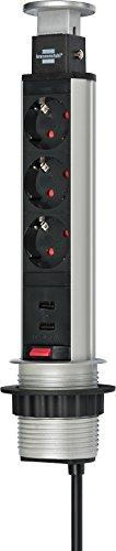 Brennenstuhl Tower Power, Tischsteckdosenleiste 3-fach (versenkbare Steckdosenleiste, 2-fach USB, 2m Kabel, komplett in Tischplatte versenkbar) silber/schwarz