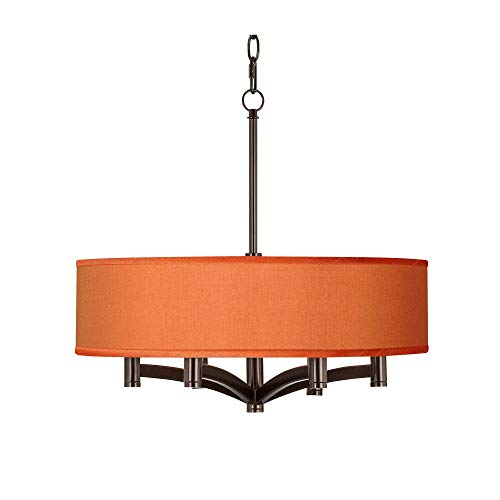 Orange Faux Silk Ava 6-Light Bronze Pendant Chandelier