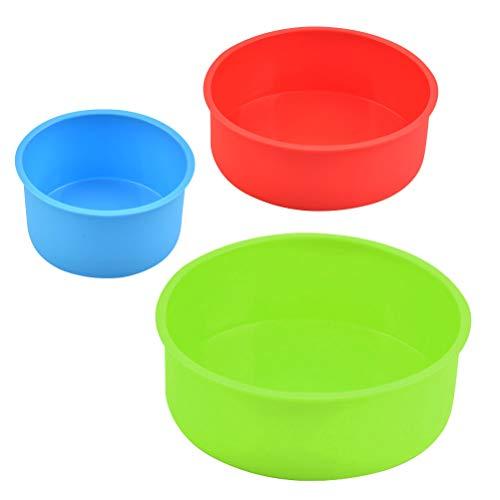 N\A 3 x Silikon-Kuchenform, runde Kuchenform, antihaftbeschichtet, Backform, flexible Backform für Ofen, Küche, Geburtstag (blau/rot/grün, 10,2 cm, 15,2 cm, 20,3 cm)
