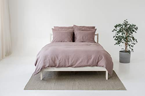 My Linen Home Set Copripiumino / Biancheria da Letto in Lino Lavato (100 % StoneWashed) Rosa...