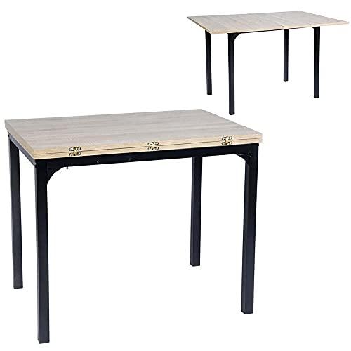 BAKAJI Tavolo Allungabile Lunghezza 90-120 cm per Casa Cucina Sala Pranzo Salotto Piano in Legno MDF e Struttura in Metallo Design Moderno Dimensioni 120 x 90 x 75 cm Colore Nero Quercia
