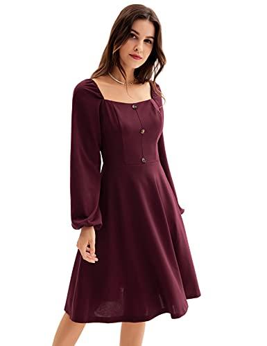 Damen Weinrot A-Linie Kleid Vierkanthals Langarm Halblange Ärmel Kleid Abendkleid Weinrot M CL0619A21-01