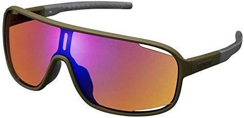 SHIMANO CE-TCNM1-MR occhiali da sole Opaco Oliva/Lenti: Arancione Blu