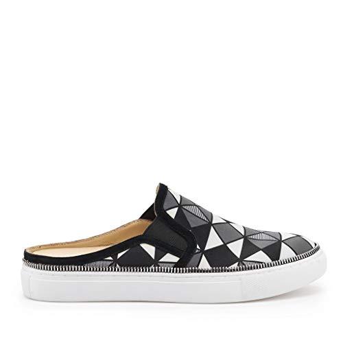 Hayden Open Back Sneaker in Black and White Geo Print