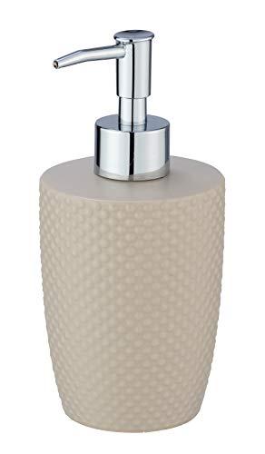 WENKO Seifenspender Punto Sand - Flüssigseifen-Spender, Spülmittel-Spender Fassungsvermögen: 0.38 l, Keramik, 8.5 x 17.5 x 8.5 cm, Beige