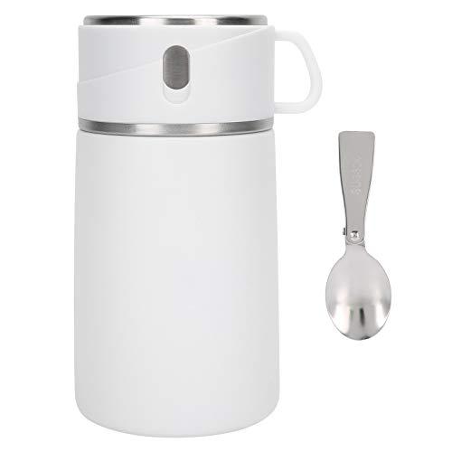 Omabeta Fiambrera aislada portátil Blanca Contenedor de Papilla para Sopa de Alimentos al vacío Olla de Materiales Multicapa con una Cuchara Reutilizable para Viajes al Aire Libre 800 ml