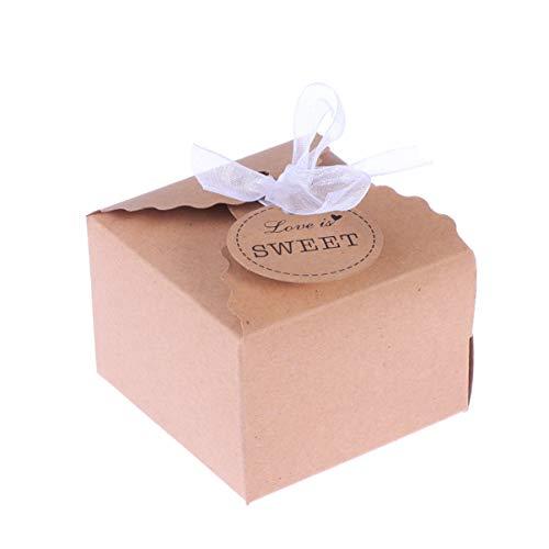 EXCEART 50 Piezas Papel Kraft Caja Boda Cajas Regalo