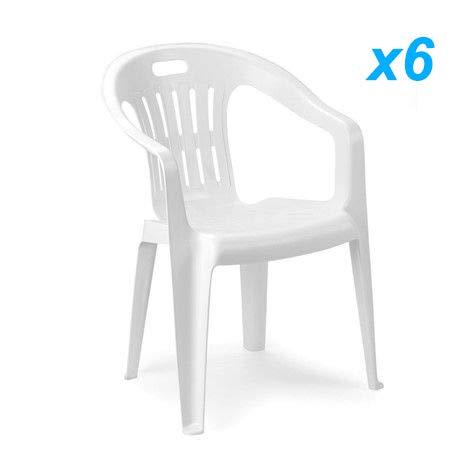Tomaino Sedia pio-Na Offerta Set 6pz Bianco in plastica resinata impilabili Ideale per casa, Giardino, Bar, Campeggio con Manuale Uso e Manutenzione