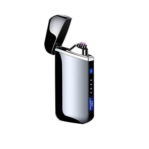 ThunderBolt Mechero Electrico, Encendedor Electrico de Doble Arco sin Llama - Mechero Recargable Resistente al Viento (Acampada) con Cable USB, Mechero de Plasma sin Gas Negro
