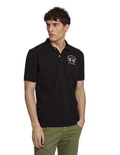 La Martina Herren Man Polo S/s Piquet STR Poloshirt, Schwarz (Black 09999), X-Large