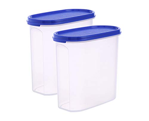 Sturdii Kitchen Storage Container Set, Plastic Airtight Containers for Storage of Dal; Plulses; Cereals, Oval Blue Lid, 1.7Litre (1.5 Kgs), Set of 2