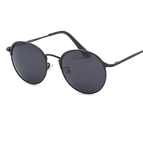 KYEEY Gafas de Sol para Hombre Gafas de Sol for Hombre Gafas de Sol metálicas Redondas Marco pequeño HD Conducción Polaroids Gafas de Sol for Hombre Hombre de Gafas de Sol (Color : Black)