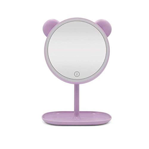QTQHOME Espejo de Pared para Maquillaje, luz LED Redonda en lámpara de Mesa, Espejo de Belleza, Pantalla táctil Recargable por USB, Rosa, Morado