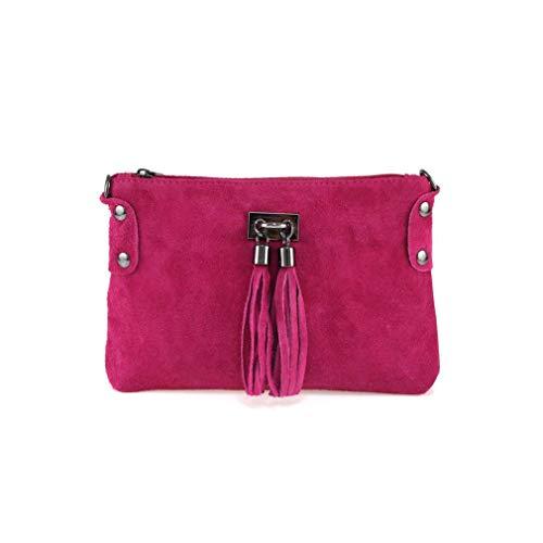 Made in Italy Damen Leder Clutch Tasche Messenger Bag Henkeltasche Wildleder Handtasche Umhängetasche Ledertasche Schultertasche Beuteltasche Fransen Cross-Over Pink
