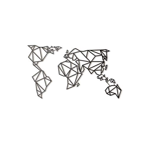 Hoagard Metal World Map Black - Mapamundi - Mapa del mundo de Hoagard Metal negro | Arte de pared de metal geometrico & Escultura de pared Arte Colgante de pared Decoracion 60cm x 100cm (Negro)