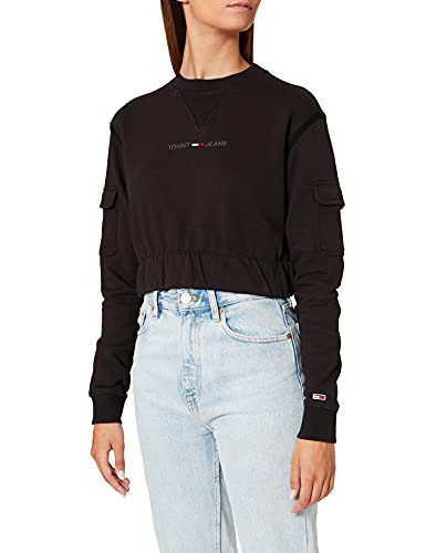 Tommy Jeans TJW Crop Utility Crew Sudadera, Negro, XS para Mujer