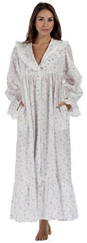 perThe 1 for U 100% Cotone Stile Vittoriano Camicia da Notte/Vestaglia da casa Amelia XS-XXXXL - Lilla, Medium
