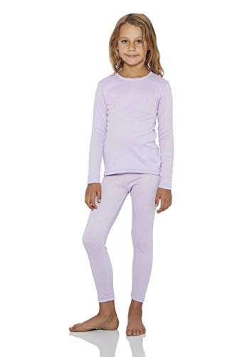 Rocky Thermal Underwear for Girls Fleece Lined Thermals Kids Base Layer Long John Set Lavender