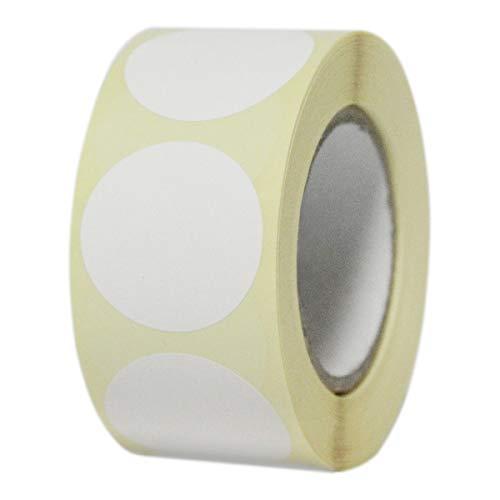 Etichette Adesive in Rotolo Rotonde Multiuso Bollini Colorati 30x30 mm 7 colori 500 pz (Bianco)