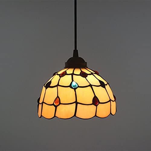 Lámpara colgante de techo con vitrales estilo Tiffany, lámpara colgante de decoración de cuentas de cristal de 12 pulgadas e26 / e27, lámpara de araña para dormitorio, cocina, comedor, 40 W