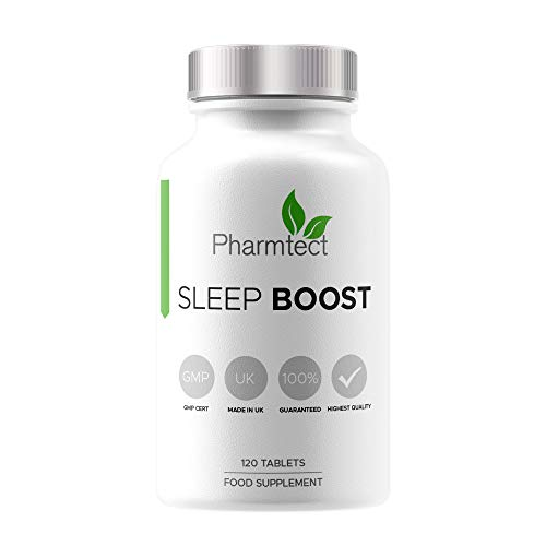 Pharmtect Sleep Boost 5HTP & Magnesium Tablets - Highest Bioavailability - Natural Nights Sleep, Stress & Relaxation - Pure Formula Made in The U.K - 120 Vegan Tablets