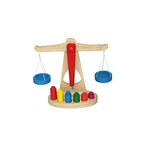 LLSS Wooden Balance Scale Group Montessori Mathematikunterricht für Kinder Kindergarten Frühpädagogisches Wiegespielzeug 17x9,5x23,5 cm Lernspielzeug für Kinder