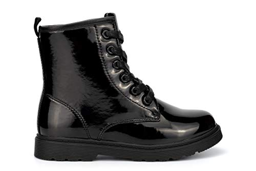 Superstar Girls Stomper Military Boots With Side Zip Fastening Patent Black...