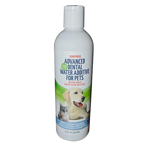 Sonnyridge Dog Advanced Dental Water Additive Removes Tartar and Plaque and Reduces Periodontal Disease for Your Dog or Cat The Most Advanced Dental Water Additive for Healthy Teeth and Gums