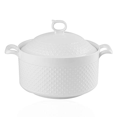 Double Handle Lid Pure White Ceramic BAKOUSTAR Tureen Soup BAKOUSTAR Ceramic Round White Dish Casserole/Clay Pot/Earthen Pot/Ceramic Cookware With White Lid Heat-Resistant For Gift Box (9In) …