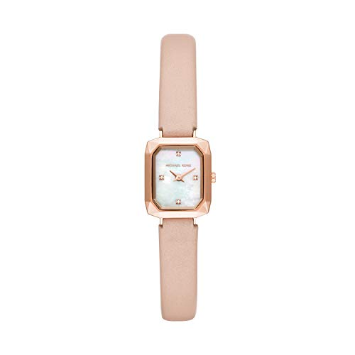 Michael Kors Women's Alane Stainless Steel Quartz Watch with Leather Strap, Pink, 10 (Model: MK2923)
