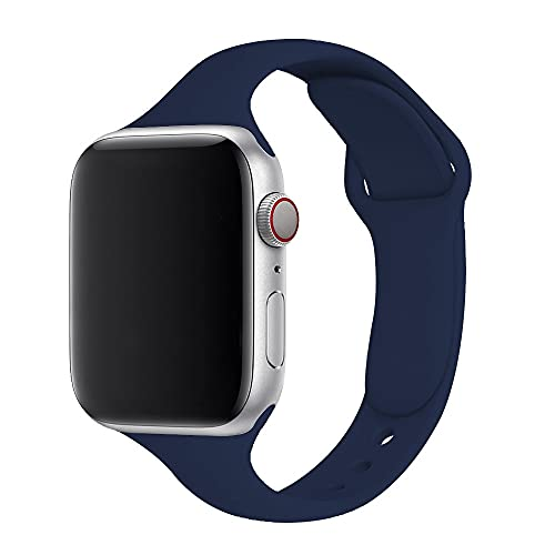 Hspcam, cinturino sottile in silicone per Apple Watch Band 40 mm 38 mm 42 mm morbido wrsit correa cintura per iWatch serie 6 SE 5 4 3 44 mm (42 mm o 44 mm, blu notte 13)
