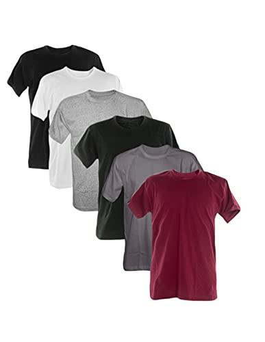 Kit 6 Camisetas 100% Algodão (preto, branco, grafite, musgo, chumbo, vinho, GG)