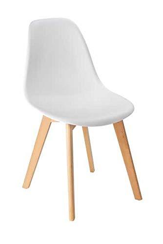 WENKO 4er Set Sala Esszimmer-Schalen-Stühle, weiß, abwaschbar, Stuhlbeine Massiv Holz Buche, Skandinavisches Design