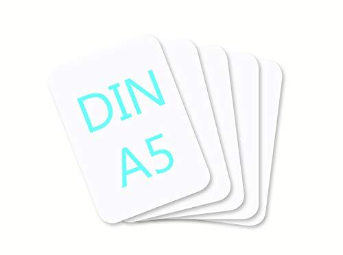 DIN A5 Blanko Papier Karton Karteikarten Set zum Selbstgestalten 300 g/m² Bastelkarton runde Ecken weiß braun schwarz (weiß matt 350g/m², 25 Blatt)