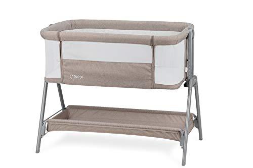 MOMI FIBI Cama 3 en 1, cama de viaje y lateral para niños desde el nacimiento, con colchón, ajuste de altura de 6 niveles, repisa para artículos de bebé, 4 patas regulables, con mirilla de malla