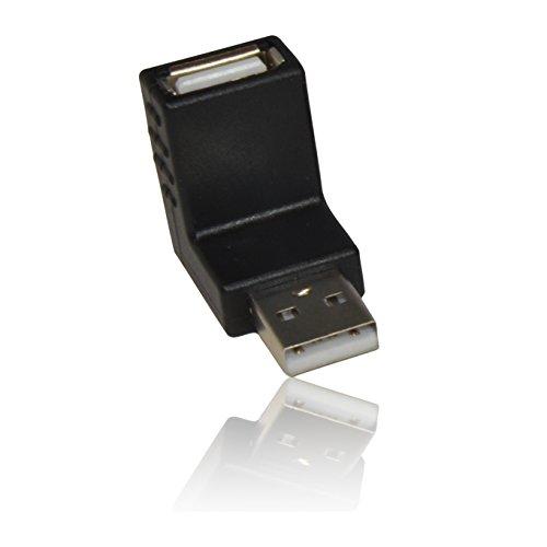 CDL Micro USB 2.0 Een Vrouwelijke naar Een Mannelijke Kabel 90 Graden Rechts Hoek Adapter Gender Changer - Zwart
