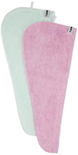 Turbie Twist Microfiber Super Absorbent Hair Towel (2 Pack) (Green-Pink)