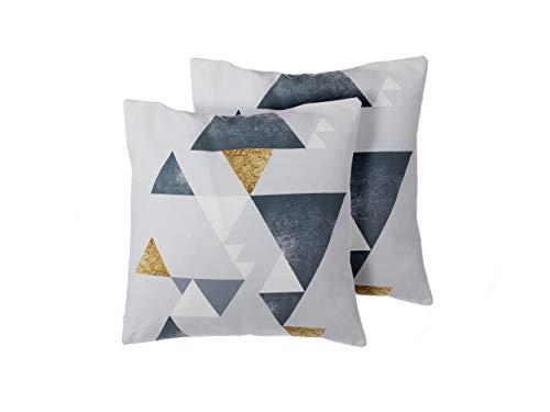Beliani Conjunto de Cojines Decorativos con triángulos Dorado/Plateado 45x45 cm Vinca