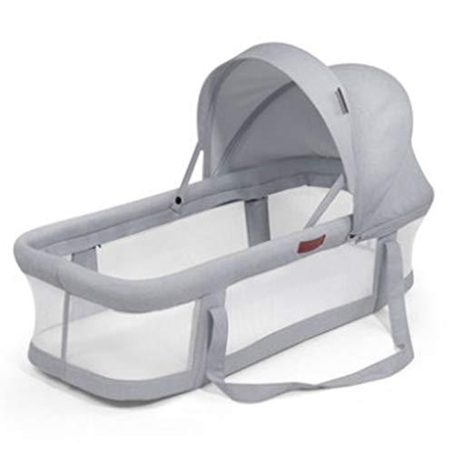 Babybett, Babyliege, Stubenwagen, Nachttisch für Neugeborene, Kleinkinder, Reisebett für 0–10 Monate, Reisebettchen mit Himmel und Matratze L Grau 2