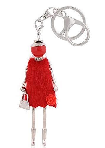 Ozdoba torby lalka sukienka tunika czerwona z kwiatem