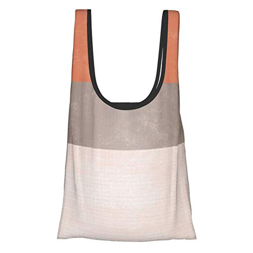 Coral Grey Broad Stripes Reusable Shopping Bags Grocery Tote Bags Foldable Waterproof Reusable Gift Bags, Washable, Durable and Lightweight