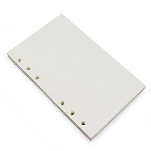 Carpeta de recambio A6 de 6 anillas,6 agujeros,papel blanco recargable para carpeta de hojas sueltas,cuaderno de cuaderno,diario de viaje,80 hojas/160 páginas,Blank White Paper